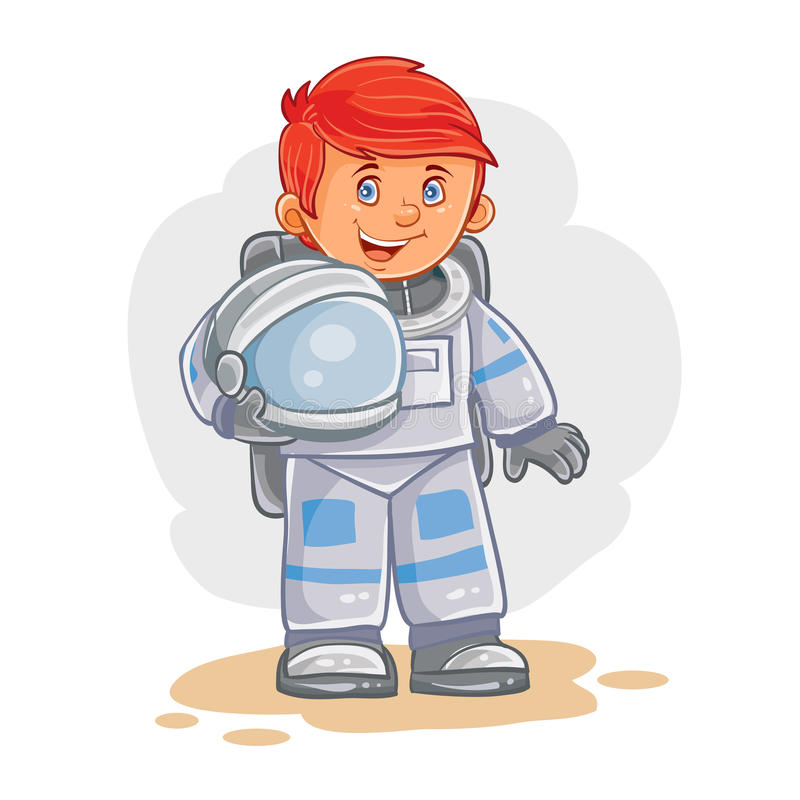 Vector icon of small child astronaut in a space suit and helmet in hand. stock illustration