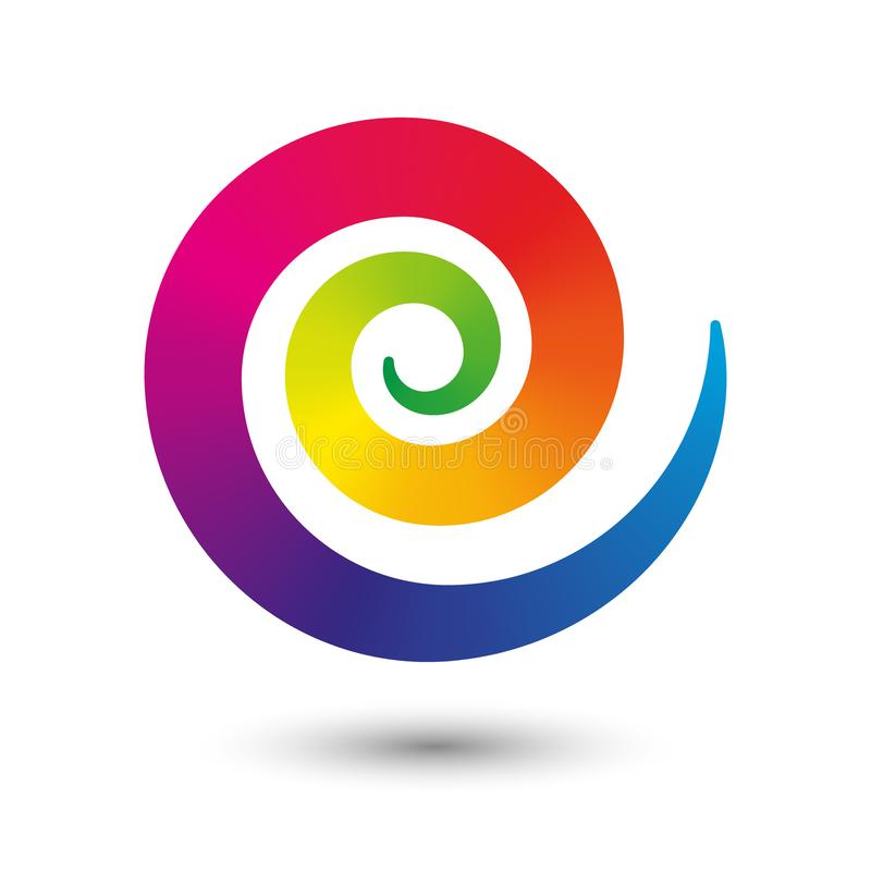 Vector icon spiral symbol of flexible twirl center in flat design isolated on white background with shadow - full color. Vector round icon spiral symbol of stock illustration