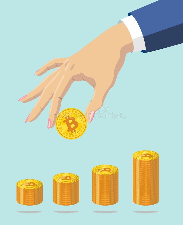 Gold bitcoin in woman`s hand. Vector illustration vector illustration
