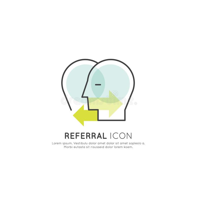 Concept of Business Relations Referral Concept, Two Human Heads Connected with Arrows vector illustration