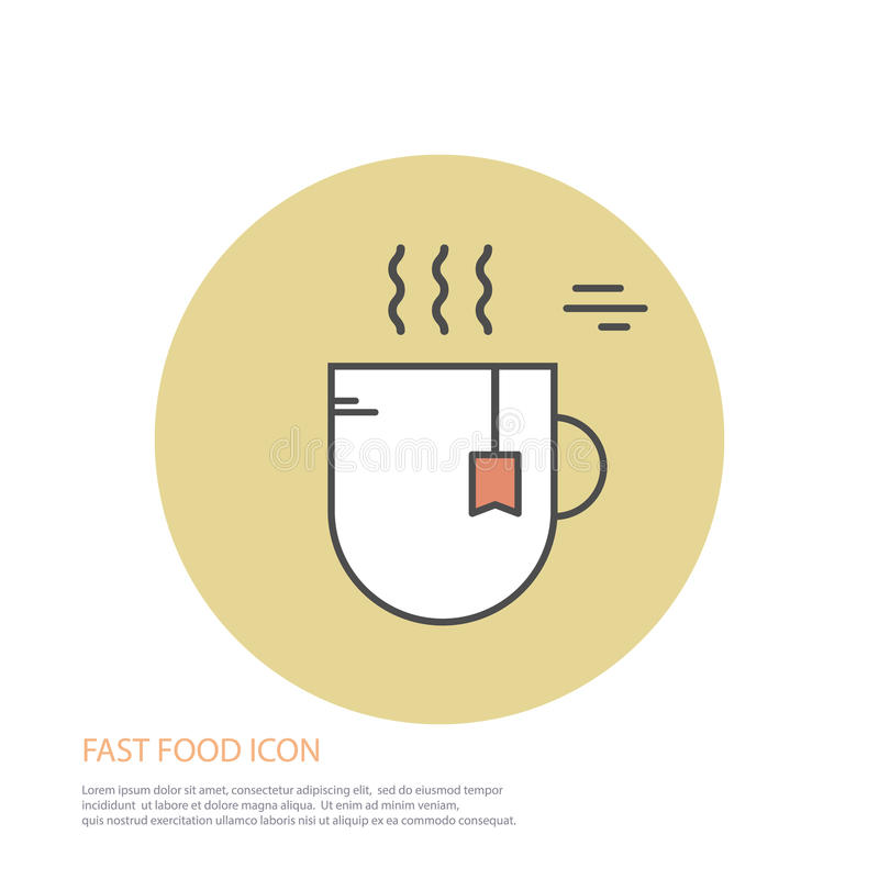 Vector icon style illustration of fast food, a cup of tea on colored round background. vector illustration
