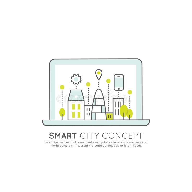 Smart City Concept and Technology, One Page Web or Mobile Template Composition with Geo Tag, Building royalty free illustration