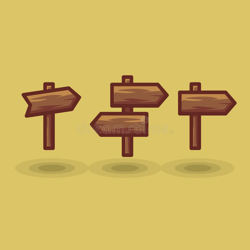 Vector icon tourist arrow signposts road to right and left royalty free illustration