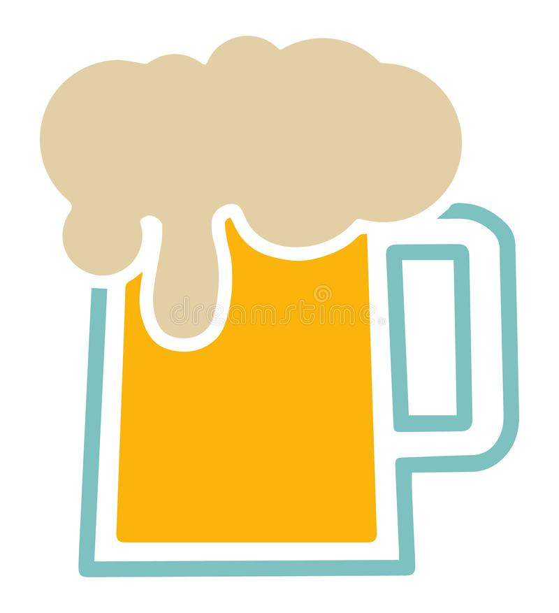 Vector icon of traditional german beer mug with foam vector illustration
