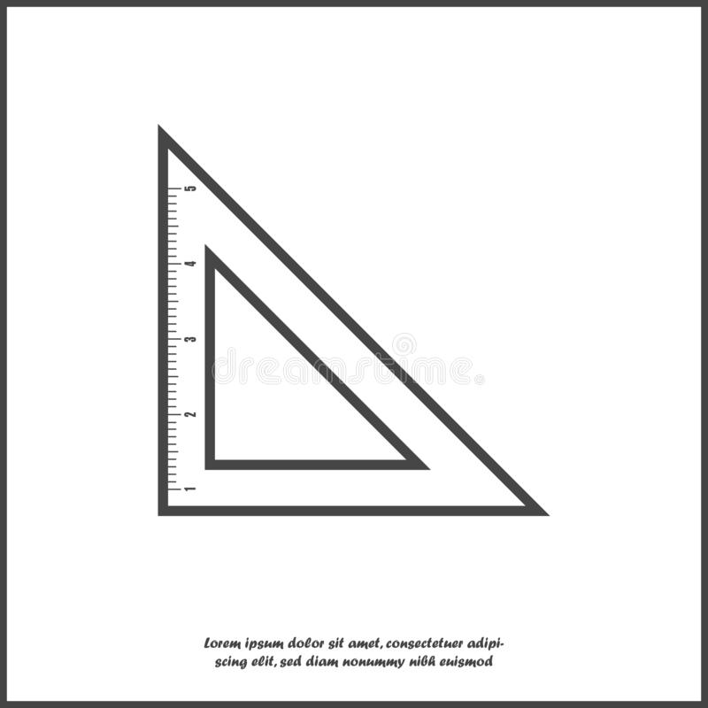 Vector icon triangle ruler. Metric system. School measuring lance. Measuring tape on white isolated background. Layers grouped for vector illustration