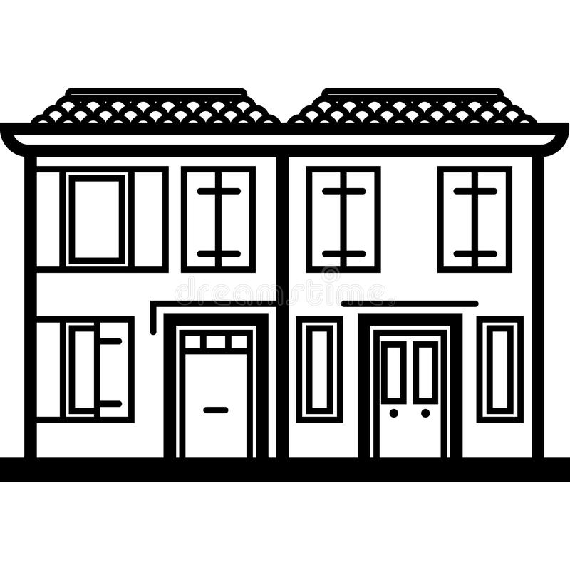Vector Icon of two italian townhouses near water in line art style. Pixel perfect. Travel and tourism royalty free illustration
