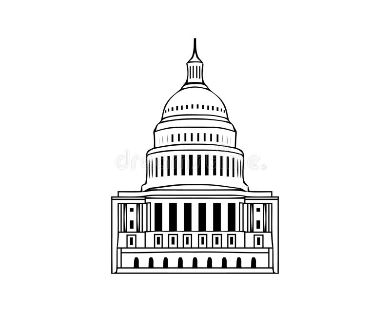 Vector icon of united states capitol hill building washington dc american congress white symbol design on white background vector illustration