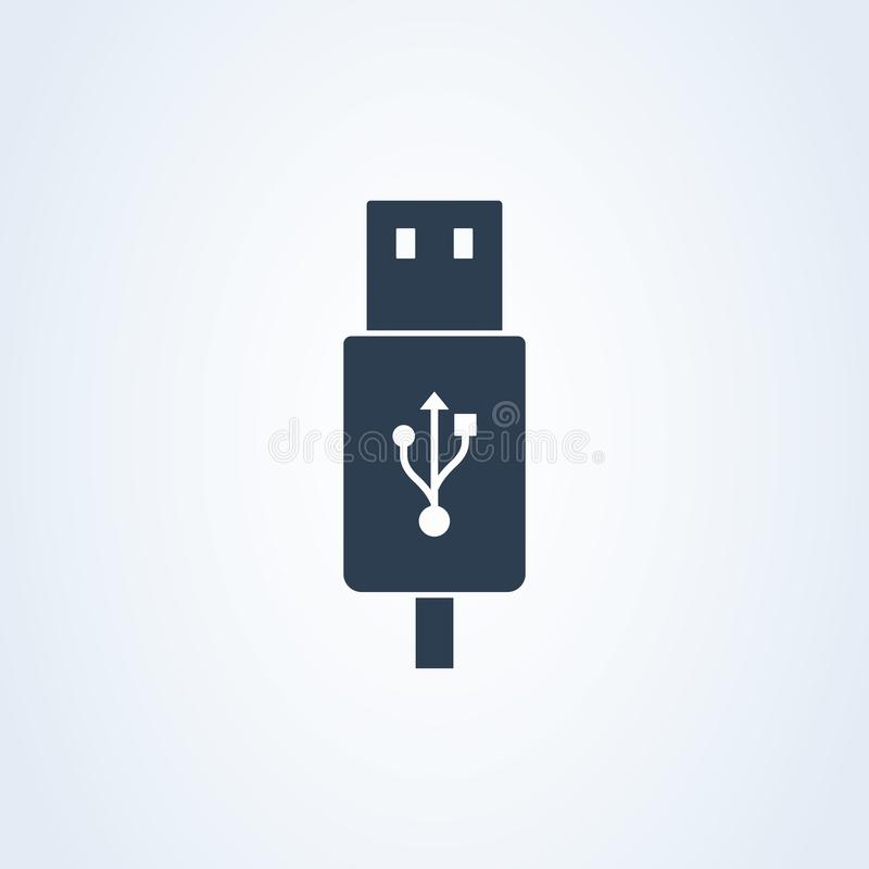 Vector icon usb cable. charger and transfer usb cable. Eps 10 vector illustration