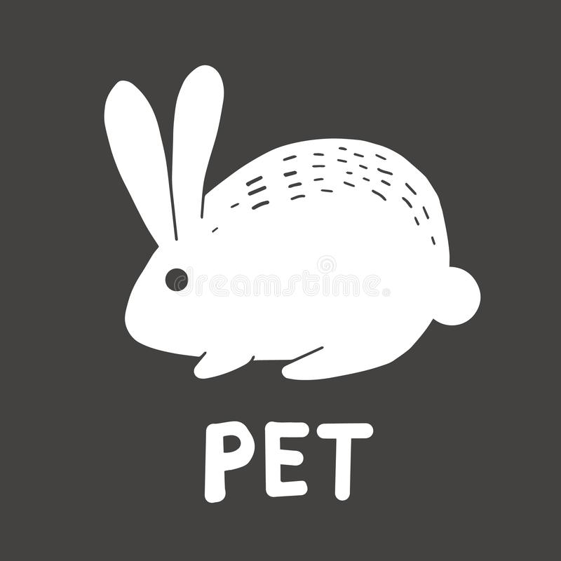 Vector icon of a white hare rabbit pet cute logo of a pet shop on a dark gray background stock illustration
