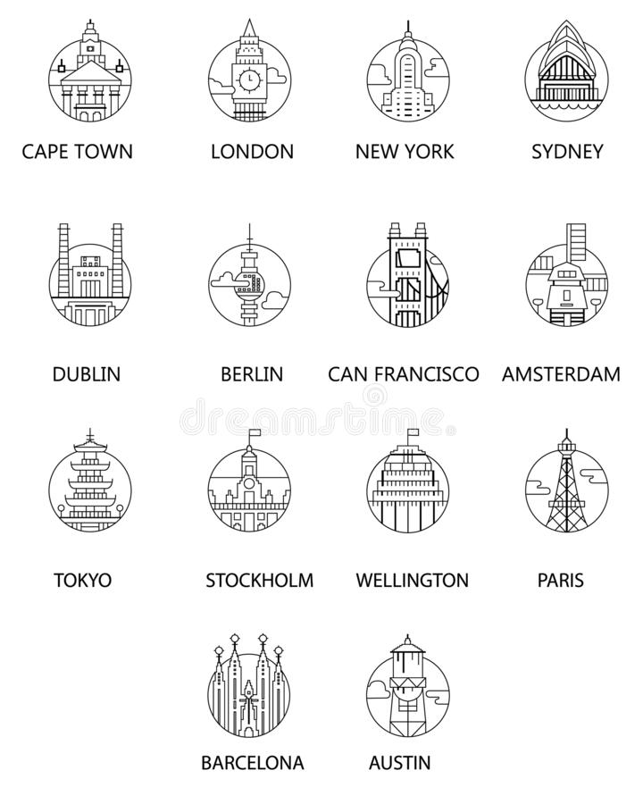 Vector Icono blanco negro del paisaje urbano con París, Berlín, Nueva York, Dublín, San Francisco, Amsterdam, Tokio, Estocolmo, W stock de ilustración