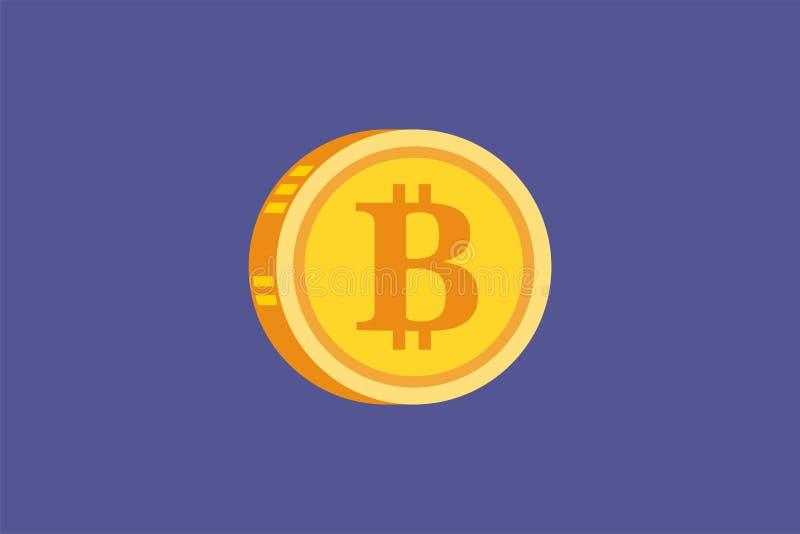 Vector icono digital del concepto del oro de Bitcoin y de Cryptocurrency stock de ilustración