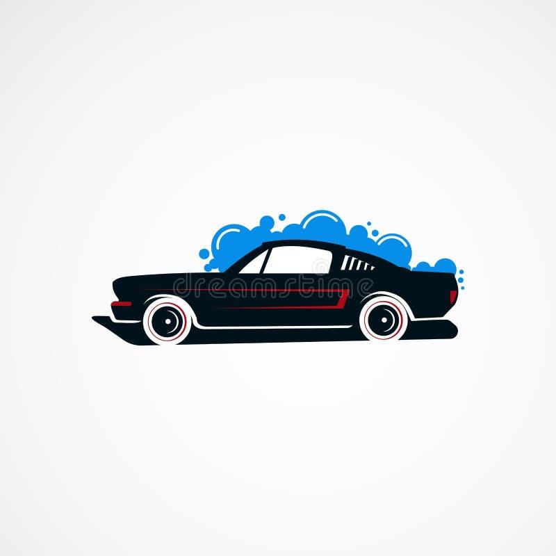 Vector, icono, elemento, y plantilla clásicos del logotipo del concepto del túnel de lavado para la compañía libre illustration