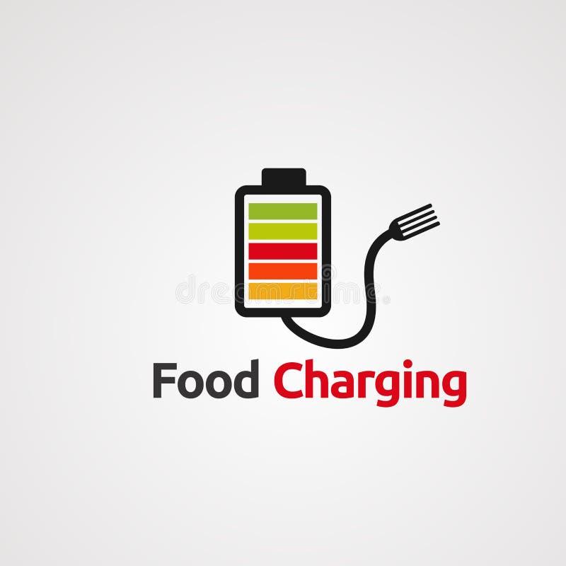 Vector, icono, elemento, y plantilla de carga del logotipo de la comida stock de ilustración