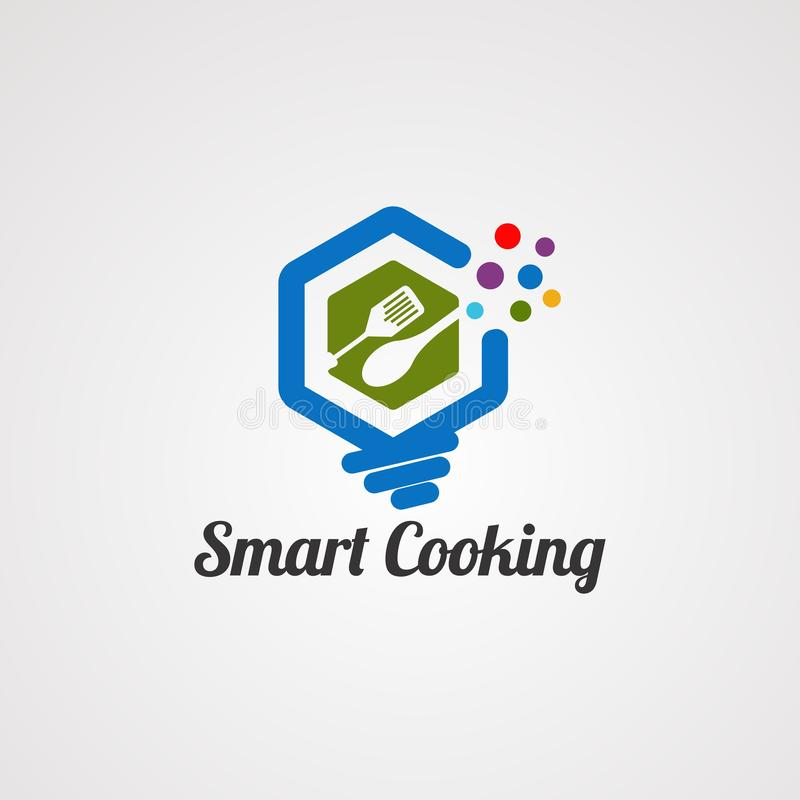 Vector, icono, elemento, y plantilla de cocinar elegantes del logotipo para la compañía ilustración del vector