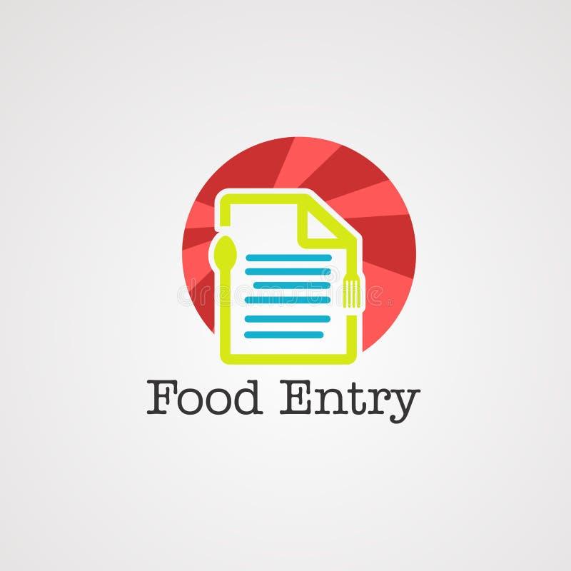 Vector, icono, elemento y plantilla del logotipo del concepto de la comida de los datos de la entrada para la compañía ilustración del vector