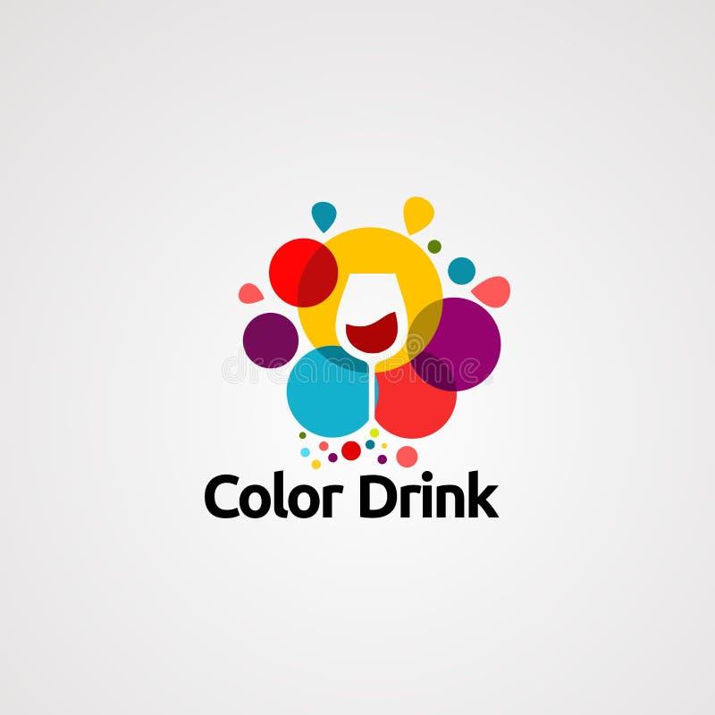 Vector, icono, elemento, y plantilla del logotipo de la bebida del color libre illustration