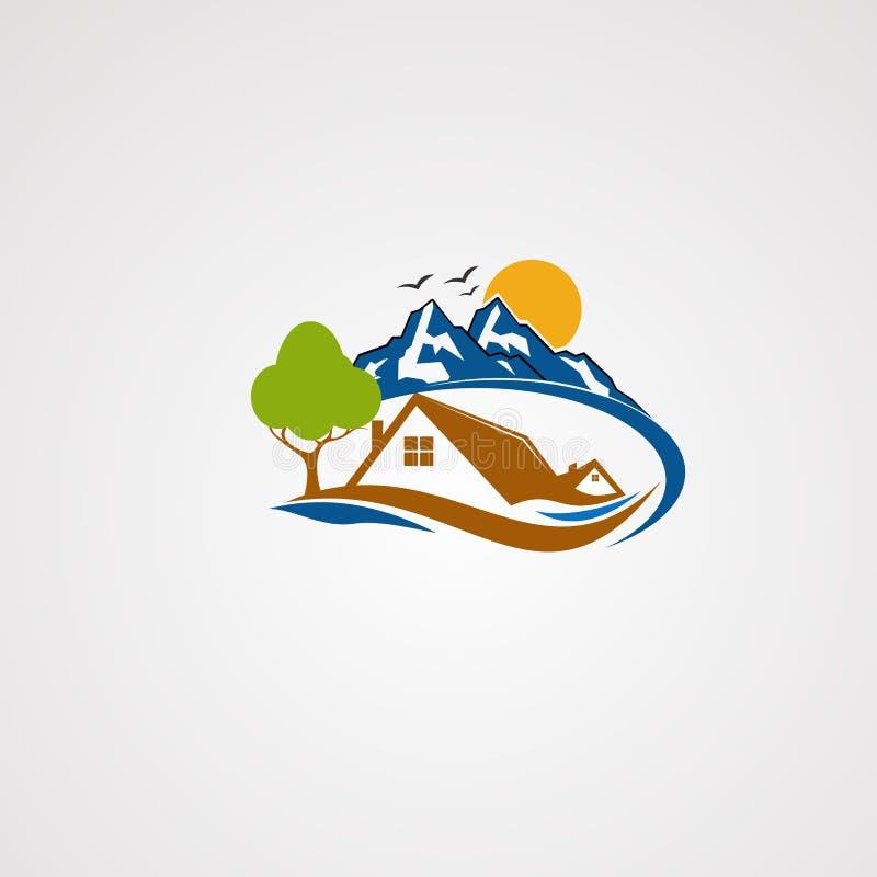 Vector, icono, elemento, y plantilla del logotipo de la casa de la montaña para la compañía ilustración del vector