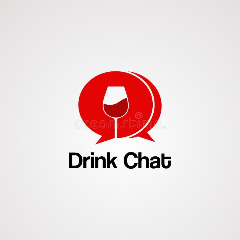 Vector, icono, elemento, y plantilla del logotipo de la charla de la bebida libre illustration