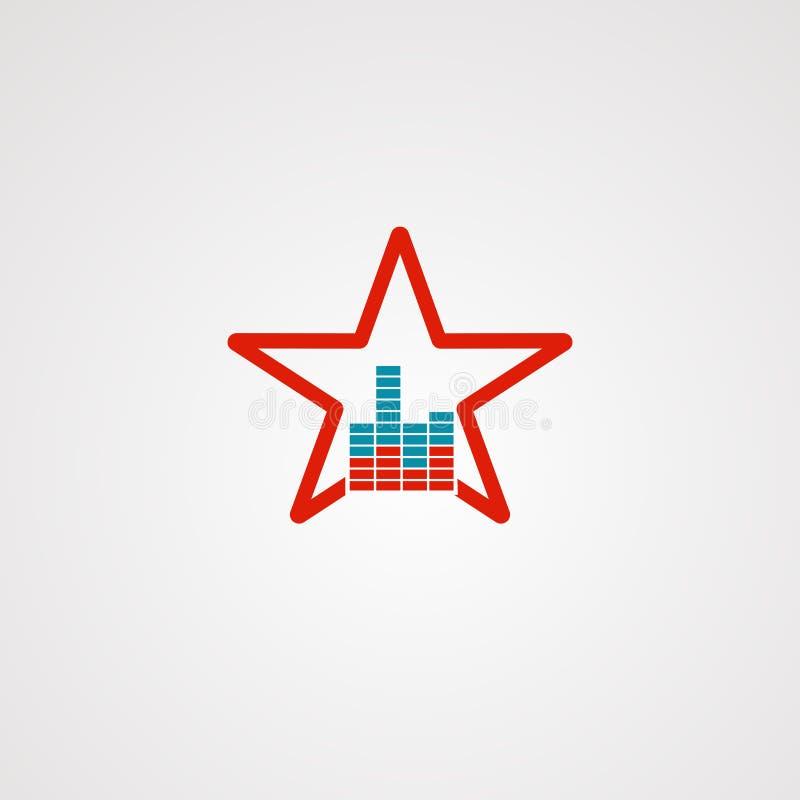 Vector, icono, elemento, y plantilla del logotipo de la estrella de los sonidos para la compañía ilustración del vector