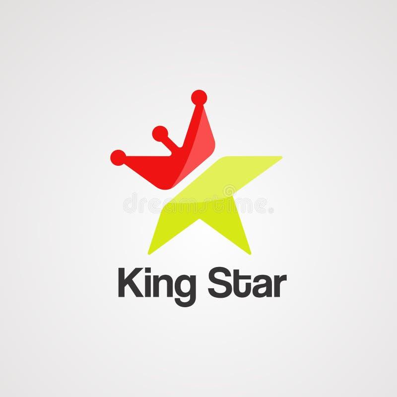 Vector, icono, elemento, y plantilla del logotipo de la estrella del rey stock de ilustración