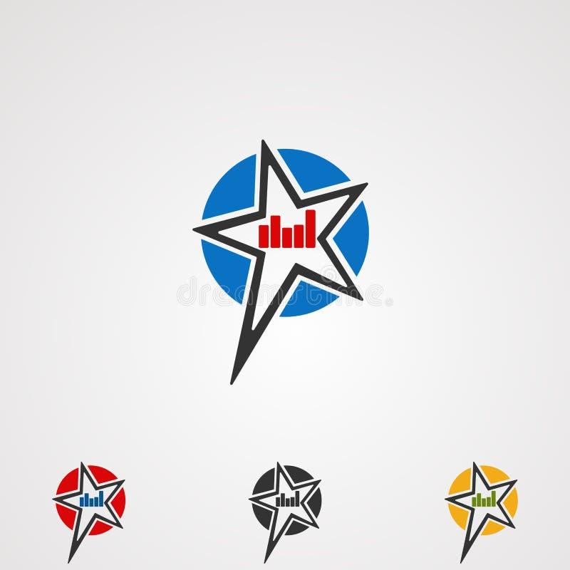 Vector, icono, elemento, y plantilla del logotipo de la estrella del rock para la compañía libre illustration