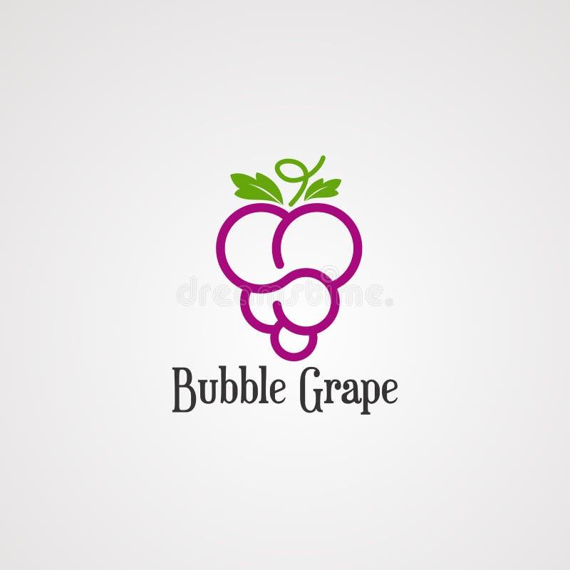 Vector, icono, elemento, y plantilla del logotipo de la fruta de la uva de la burbuja para la compañía libre illustration