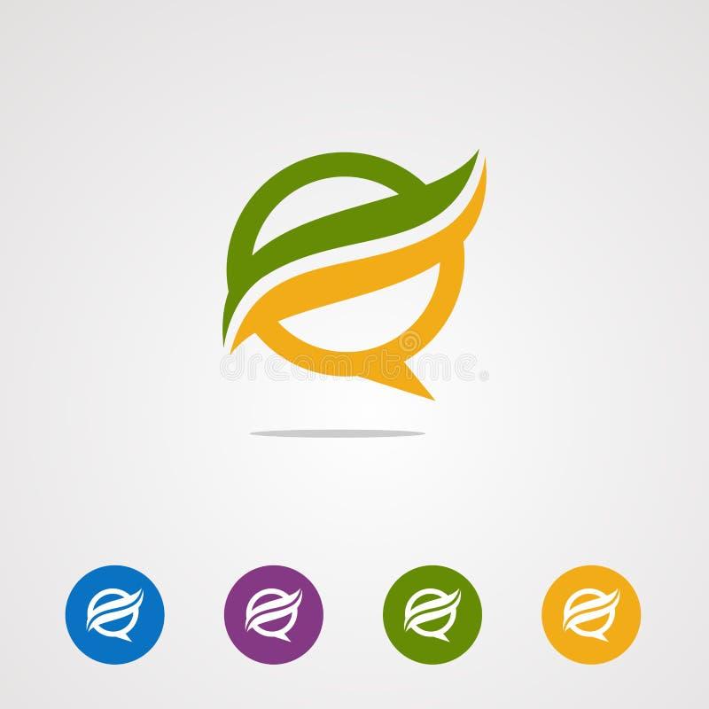 Vector, icono, elemento, y plantilla del logotipo de la onda de la charla para el negocio ilustración del vector