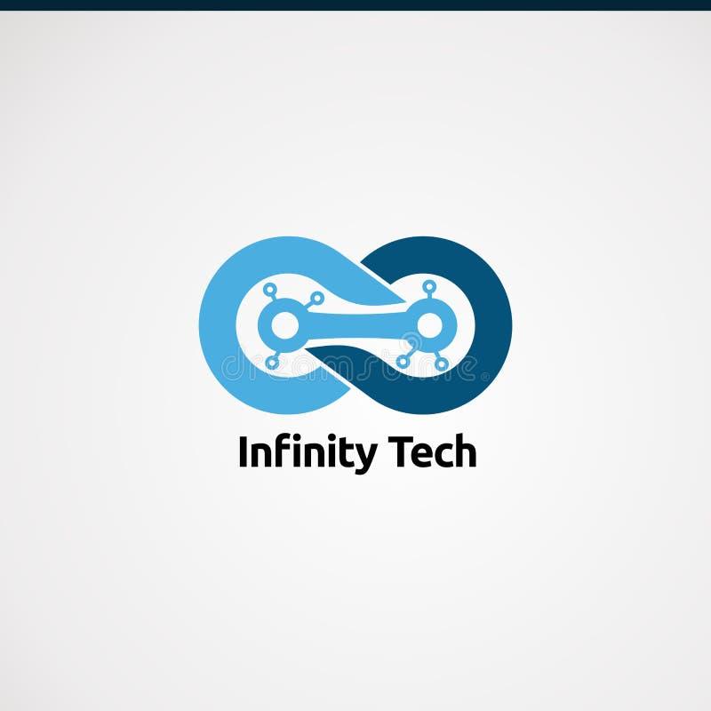 Vector, icono, elemento, y plantilla del logotipo de la tecnología del infinito para la compañía ilustración del vector