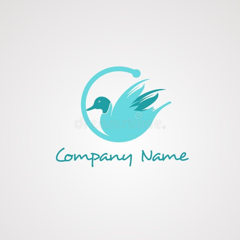 Vector, icono, elemento, y plantilla del logotipo del ganso para la compañía stock de ilustración