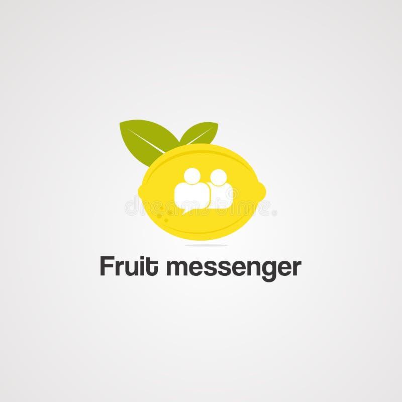 Vector, icono, elemento, y plantilla del logotipo del mensajero de la fruta libre illustration