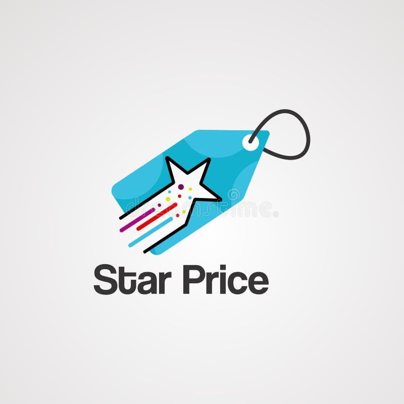 Vector, icono, elemento, y plantilla del logotipo del precio de la estrella ilustración del vector