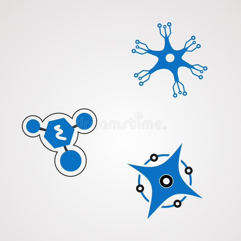 Vector, icono, elemento, y plantilla del logotipo del techno de la neurona para la compañía stock de ilustración