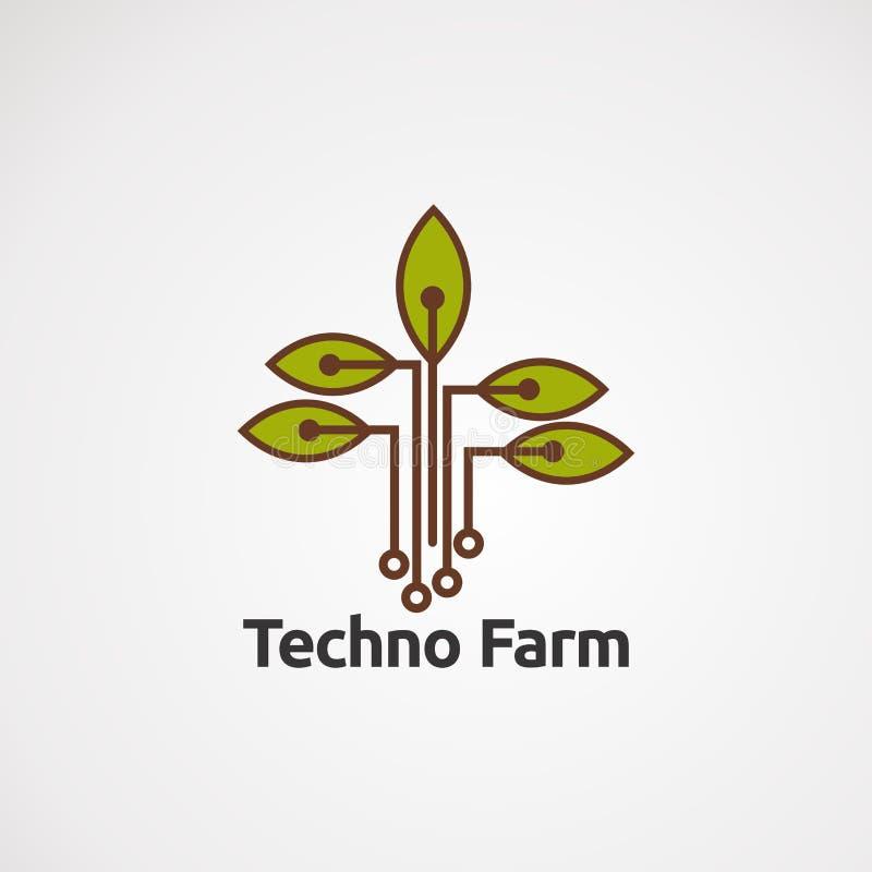 Vector, icono, elemento, y plantilla frescos del logotipo de la ensalada del extracto del tomate para la compañía ilustración del vector