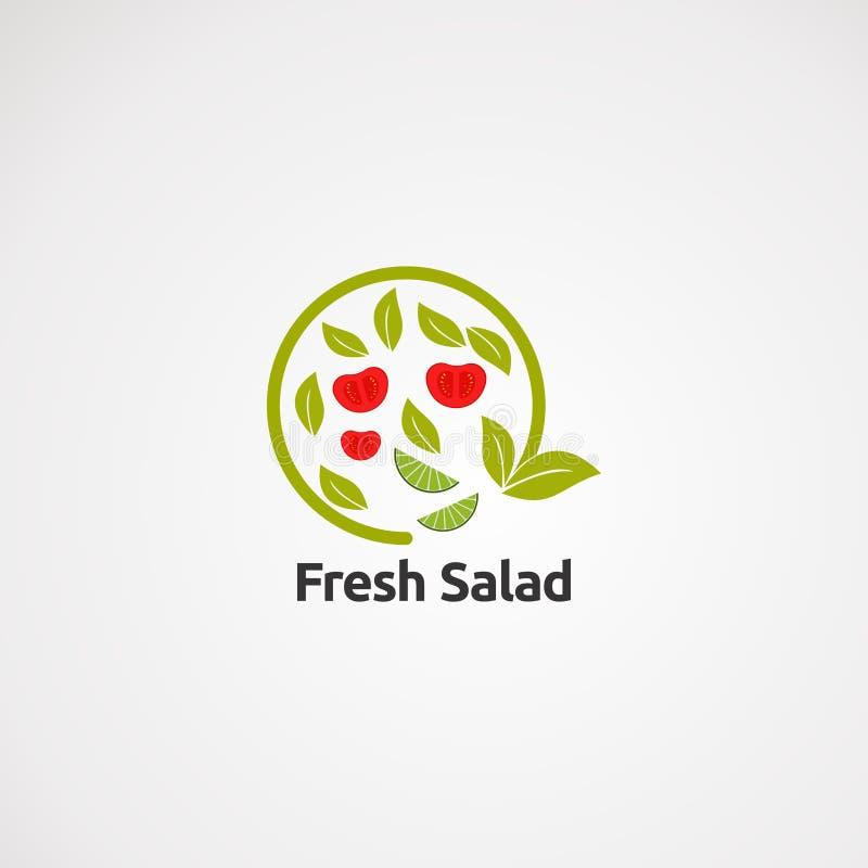 Vector, icono, elemento, y plantilla frescos del logotipo de la ensalada del verde del círculo para la compañía stock de ilustración