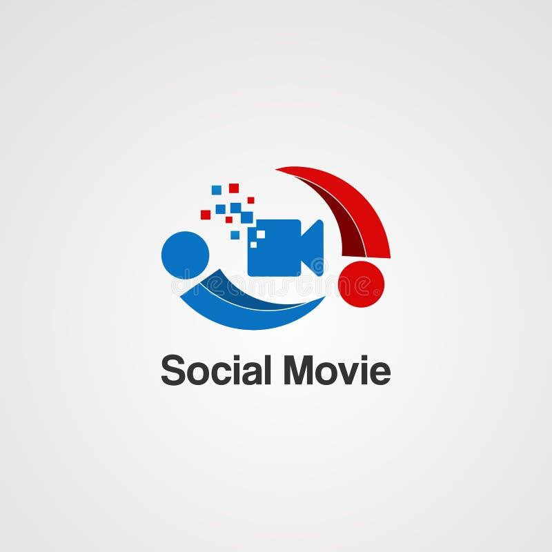 Vector, icono, elemento, y plantilla sociales del logotipo de la película para la compañía libre illustration