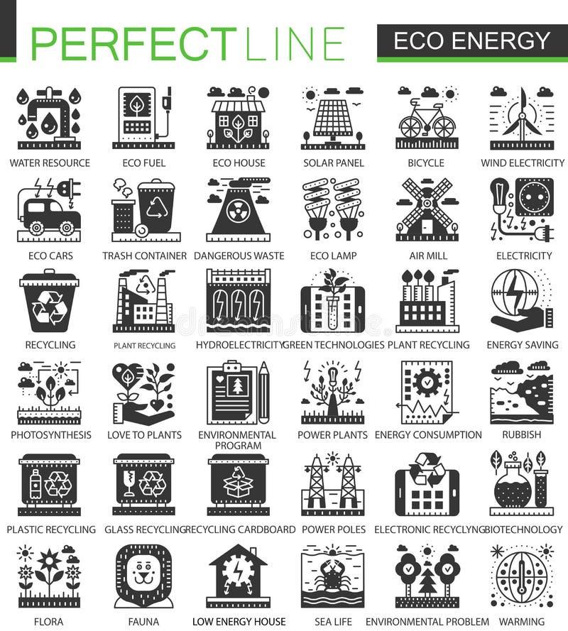 Vector iconos del concepto del negro verde de la energía de Eco los mini y el sistema de símbolos infographic stock de ilustración