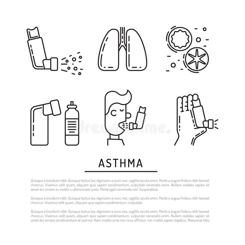 Vector icons asthma royalty free illustration