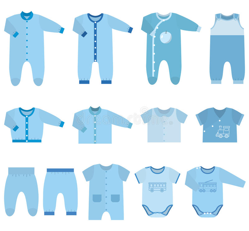 Vector icons of baby clothes for boys. royalty free illustration