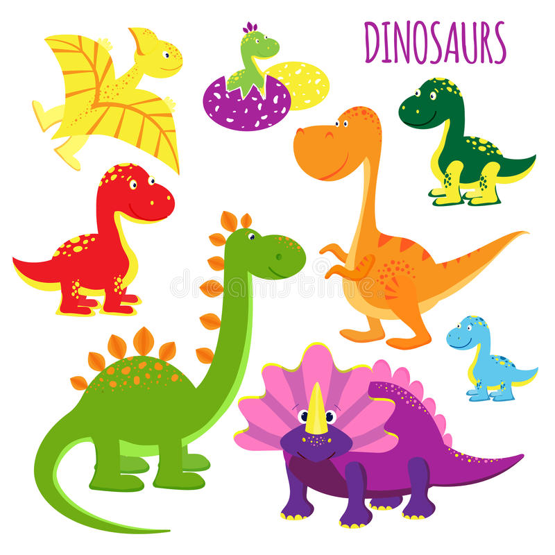 Vector icons of baby dinosaurs stock illustration
