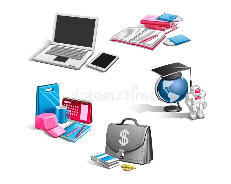 Vector icons on the business theme stock illustration