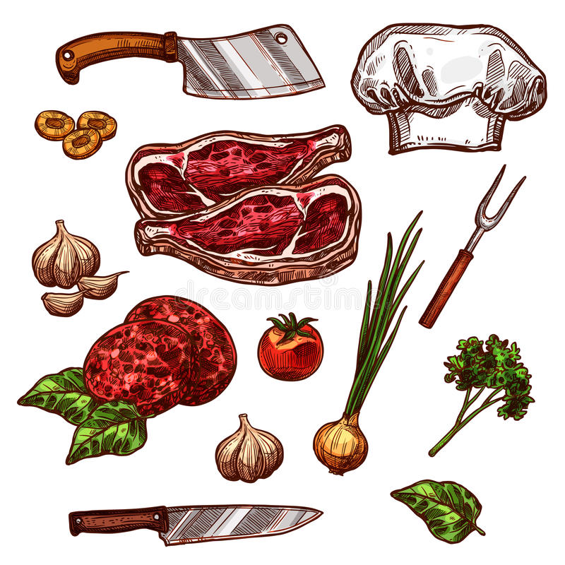 Vector icons of butchery meat and seasonings stock illustration
