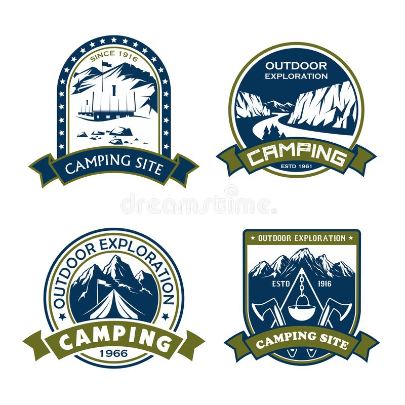 Vector icons for camping site outdoor adventure. Camping site outdoor adventure icons for mountain hiking sport or extreme nature explorer team club. Vector vector illustration
