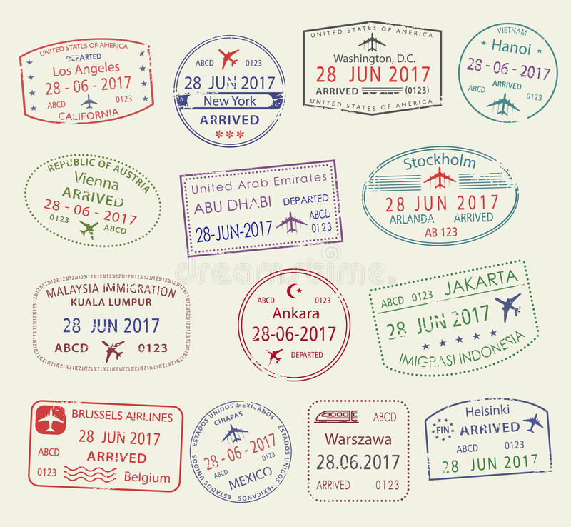 Vector icons of city passport stamps world travel stock illustration