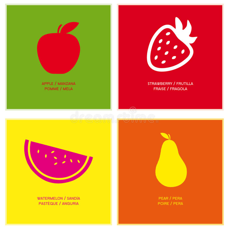 Free Vector Icons Color Fruits Stock Image - 48753911