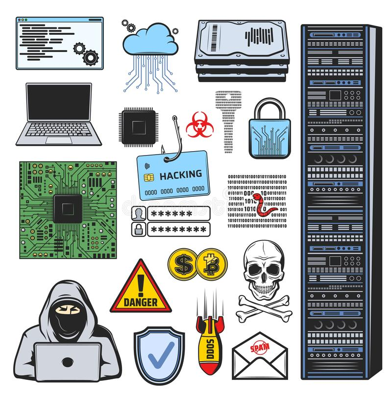Internet phishing, hacking, theft and cyber crime royalty free illustration