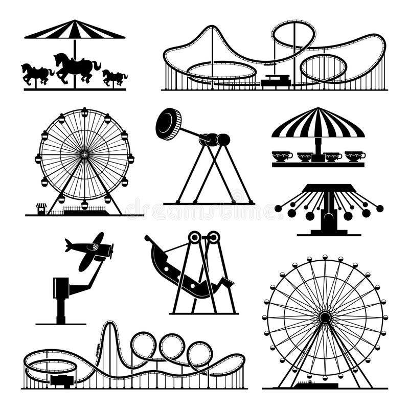 Vector icons of different attractions in amusement park. Attraction icon for carnival and amusement park illustration royalty free illustration