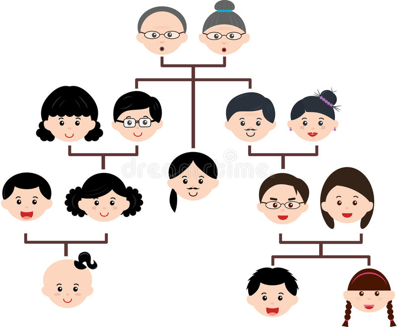 Vector Icons: Family Tree stock illustration