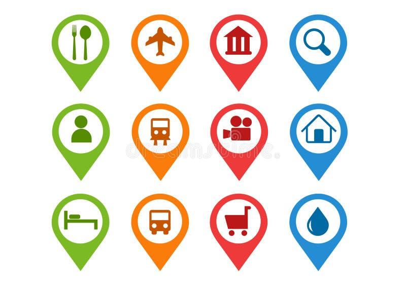 Vector icons goals Target Map flet design pin. Colored Vector icons goals Target Map flet design stock illustration