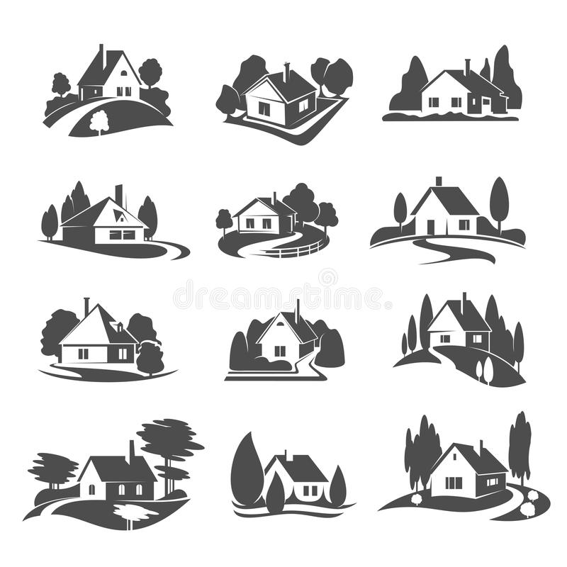 Vector icons of house for real estate company vector illustration