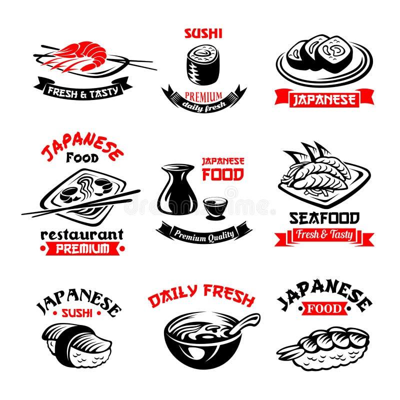 Vector icons for Japanese sushi food restaurant stock illustration